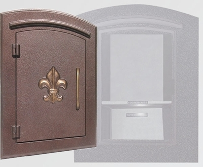 Manchester Locking Column Mailbox with Fleur de Lis Emblem in Antique Copper (Stucco Column Purchased Seperately)