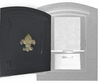 Manchester Security Locking Column Mount Mailbox with SILVER Fleur de Lis Emblem in Black (Stucco Column Not Included)