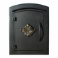 Manchester Locking Column Mailbox with Scroll Emblem in Black (Stucco Column Purchased Seperately)