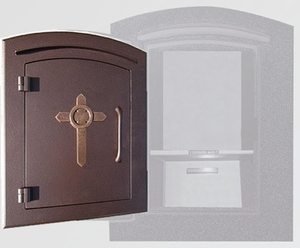 Manchester Security Locking Column Mount Mailbox with Decorative Cross Emblem in Antique Copper (Stucco Column Not Included)