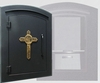 Manchester Locking Column Mailbox with Decorative Cross Emblem in Black (Stucco Column Purchased Seperately)