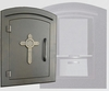 Manchester Locking Column Mailbox with Decorative Cross Emblem in Bronze (Stucco Column Purchased Seperately)