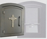 Manchester Security Locking Column Mount Mailbox with Decorative Cross Emblem in Bronze (Stucco Column Not Included)
