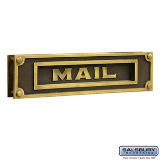 Mail Slot Deluxe Solid Brass Antique Finish