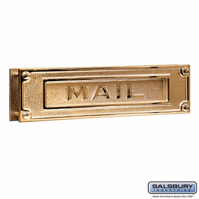 Salsbury 4075B Mail Slot Deluxe Solid Brass Brass Finish