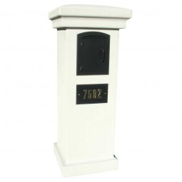 Manchester Locking Mailbox Gray with Decorative Door