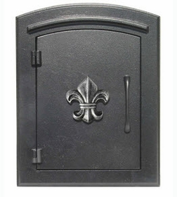 "Manchester NON-Locking ""Decorative with SILVER ANTIQUING Fleur De Lis Door"" Column Mount Mailbox in Black"