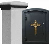 Manchester Security Locking Stucco Column Mailbox with Cross Emblem - Stucco Column Included (Choose Colors)