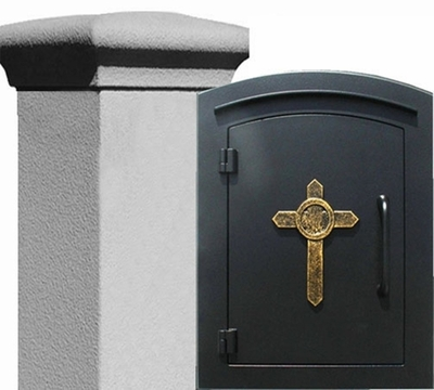 Manchester Stucco Locking Column w/decorative Cross