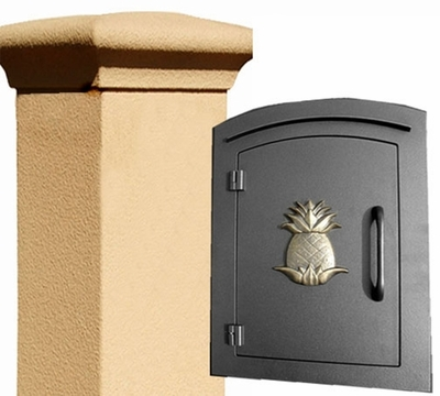 Manchester Stucco Locking Column Mailbox with Pineapple Emblem - Stucco Column Included (Choose Colors)