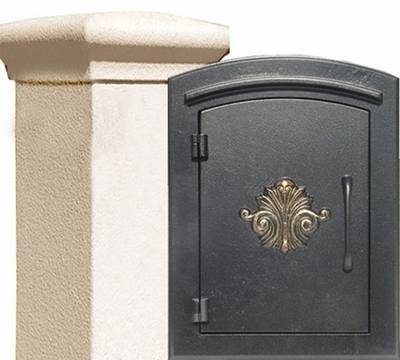 Manchester Stucco Locking Column Mailbox with Scroll Emblem - Stucco Column Included (Choose Colors)