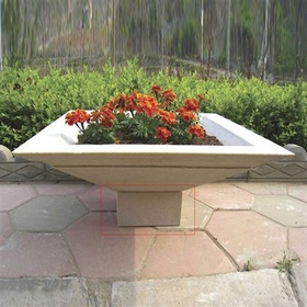 "Matching Cubic Pedestal Riser for 36"" Cubic Planter in Tan Color"