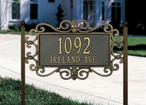 Whitehall Mears Fretwork - Standard Lawn Address Sign - Two Line