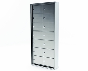Mini Storage Cabinet Lockers - 14 Doors Recess Mount