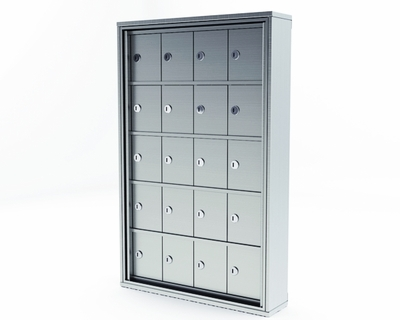 Mini Storage Cabinet Lockers - 20 Doors Recess Mount