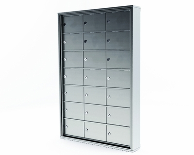 Mini Storage Cabinet Lockers - 21 Doors Recess Mount