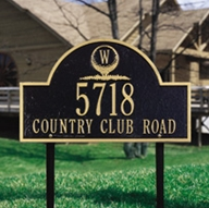 Whitehall Monogram Golf Arch - Standard Lawn Address Sign - Three Line