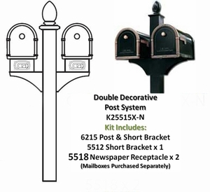 Double Decorative Post System with Newspaper Receptacles (Mailboxes Purchased Separately)