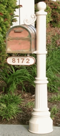 Newport-Lg Mailbox Post & Oxford Brass Mailbox with Locking Insert Option