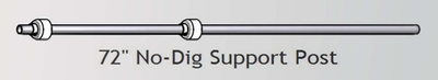 "No-Dig Internal Support Post 72"" H Galvanized Pipe with poly-spacers"