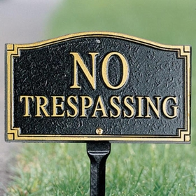 Whitehall No Trespassing Statement Plaque - Wall/Lawn - Dark Blue/Gold