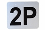 Number Plate: Metal Adhesive w/ Black Numbering - Labeled 2P