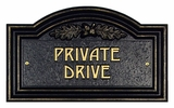 Whitehall Oak Leaf Private Drive Plaque - Wall - Black/gold