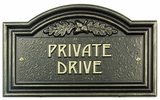 Whitehall Oak Leaf Private Drive Plaque - Wall - Bronze/Gold