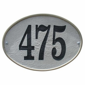 Oakfield Oval Crushed Stone Address Plaque in Sandstone Color