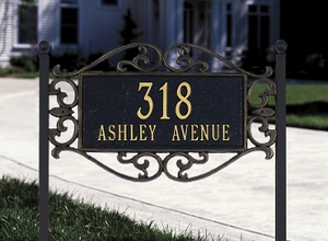 Whitehall Lewis Fretwork - Standard Lawn Address Sign - Two Line