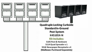 Quadruple Locking Curbside Standard In-Ground Post System with Newspaper Receptacles (Mailboxes Purchased Separately)