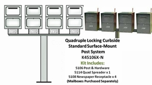 Quad Locking Curbside Standard Surface Post System with Newspaper Receptacle (Mailboxes purchased Separately)