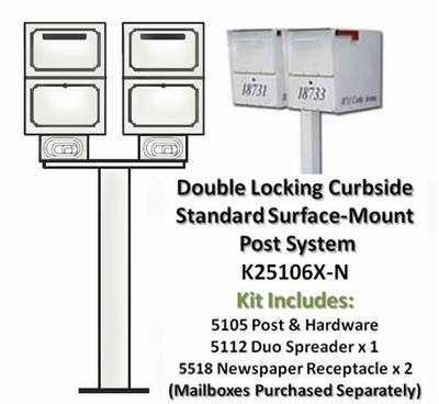 Double Locking Curbside Standard Surface Mount Post System with Newspaper Receptacle (Mailboxes purchased separately)