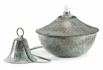 Oil Lamp Medium Verde Hammered
