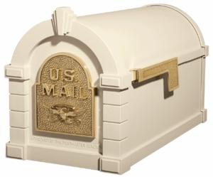 Original Keystone Series Almond with Polished Brass Accents Mailbox