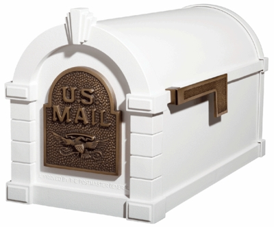 Original Keystone Series Mailbox White with Antique Bronze Accents