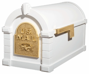 Original Keystone Series White Mailbox with Polished Brass Accents