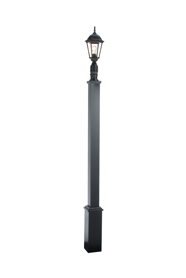 Outdoor lamp post with square decorative base 6 street light