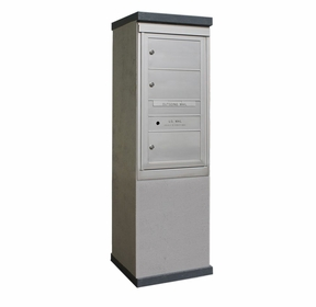 Outdoor Mailbox Kiosk - 3 Doublewide Tenant Doors - USPS Approved