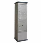 Outdoor Mailbox Kiosk - 3 Doublewide Tenant Doors with 1 Parcel Locker - USPS Approved