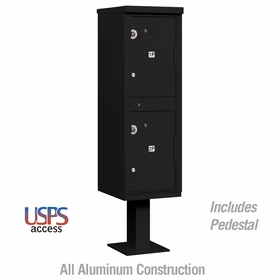 Outdoor Parcel Locker - 2 Compartments - Black - USPS Access