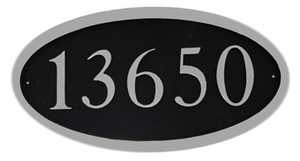"Oval Cast Aluminum Address Plaque with Flat Letters (19"" x 10"")"