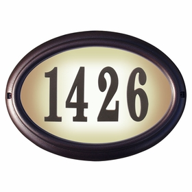 Edgewood Oval Lighted Address Plaque with Cast Aluminum Numbers - Antique Copper Frame