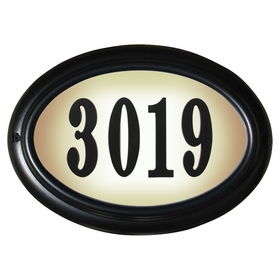 Edgewood Oval Lighted Address Plaque with Cast Aluminum Numbers - Black Frame