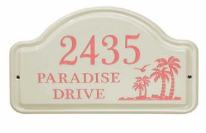 Whitehall Palm Ceramic Arch - Standard Wall Plaque - Three Line - Coral