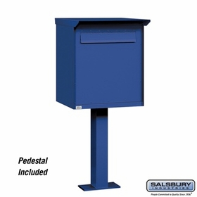 Salsbury 4277BLU Pedestal Drop Box Jumbo Blue (Includes Pedestal)
