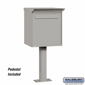 Salsbury 4277GRY Pedestal Drop Box Jumbo Gray (Includes Pedestal)