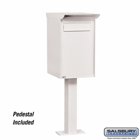 Salsbury 4275WHT Pedestal Drop Box Regular White (Includes Pedestal)