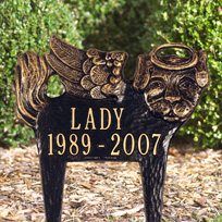 Whitehall Pet Memorial Angel-Dog - Standard Lawn - Two Line