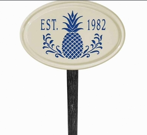 Whitehall Pineapple Ceramic Oval - One Line Petite Lawn Address Sign - Dark Blue